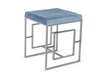 Siedzisko błękitne z metalowymi nogami